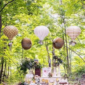Hot Air Balloon Paper Lantern Set in Gold and White (3) Vintage Gold