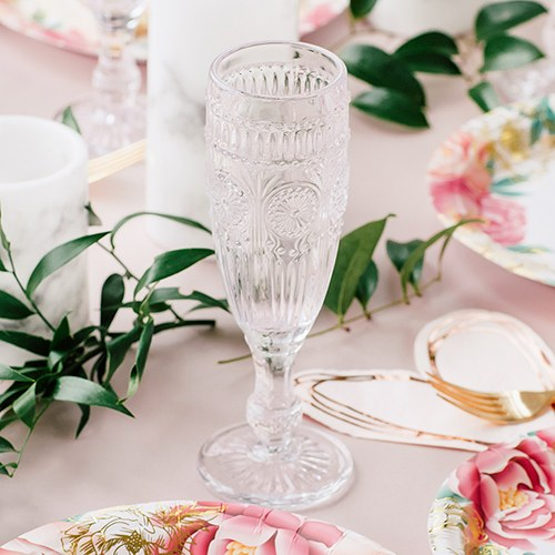 Vintage Style Pressed Glass Champagne Flute - Clear - InCasaGifts