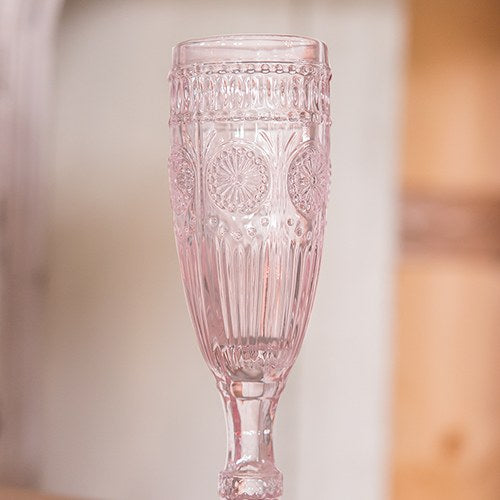 Vintage Style Pressed Glass Champagne Flute - Pink - InCasaGifts