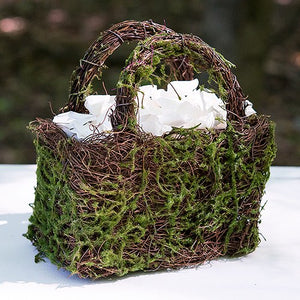 Faux Moss and Wicker Basket with Handles and Liner