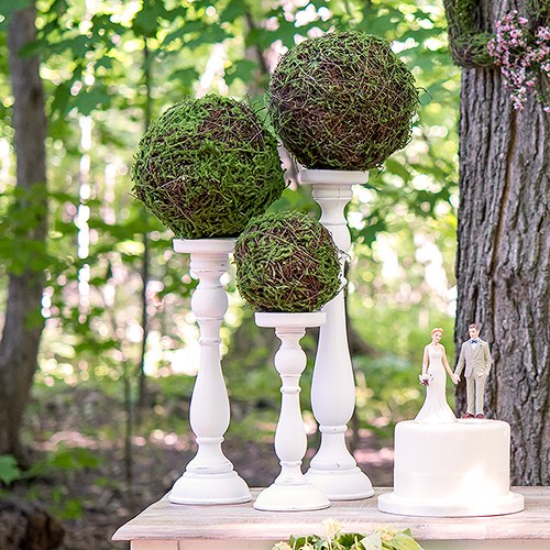 Faux Moss and Wicker Pomander Small