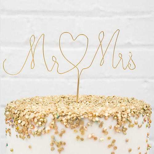 Mr. & Mrs. Twisted Wire Cake Topper - Gold - InCasaGifts