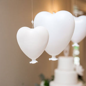 White Blown Glass Hanging Heart Decoration - Small White