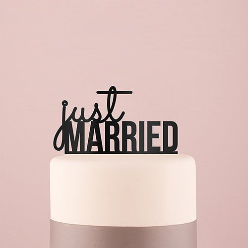 Just Married Acrylic Cake Topper - Black - InCasaGifts