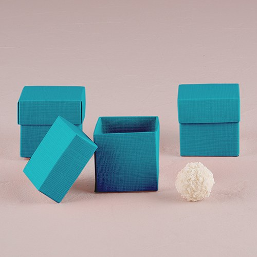 10 Oasis Blue Square Favor Box with Lid - InCasaGifts