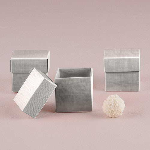 Lustrous Silver Favor Box with Lid (10) - InCasaGifts