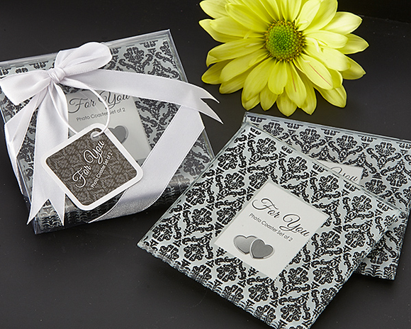 Classic Damask Black & White Photo Coaster Favor (Set of 2)