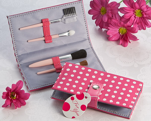 Pretty in Pink Polka Dot Makeup Brush Kit Favor - InCasaGifts