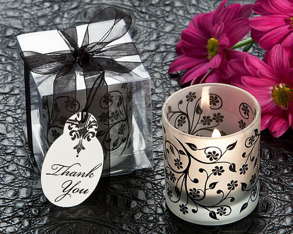 Frosted Elegance Black and White Tea Light Candle Favor (Set of 4)