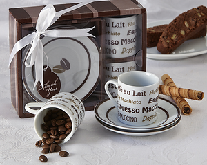 Euro Cafe Espresso Coffee Cup Favor (Set of 2) - InCasaGifts