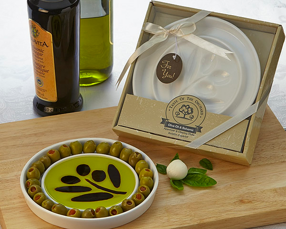 Taste of the Orchard Oil-Vinegar Dipping & Appetizer Plate Favor - InCasaGifts