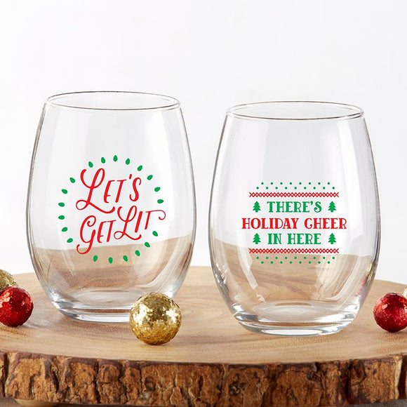 Red & Green Christmas 15 oz. Stemless Wine Glass (Set of 2) - InCasaGifts
