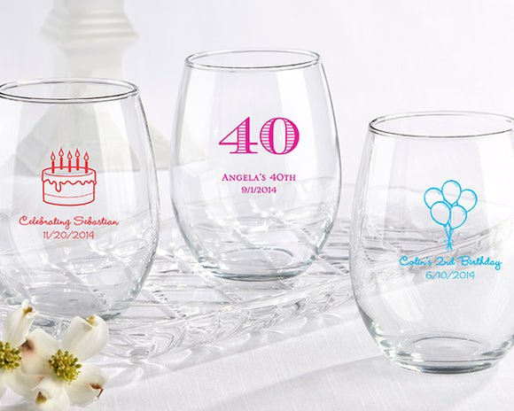 Personalized 15 oz. Stemless Wine Glass - Birthday