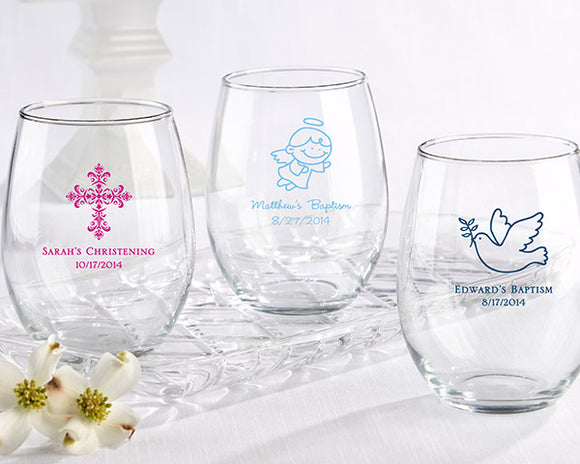 Personalized 15 oz. Stemless Wine Glass - Religious - InCasaGifts