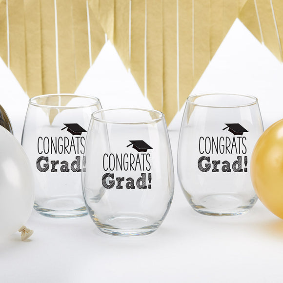 Congrats Grad Stemless Wine Glass 15 oz. (Set of 4)
