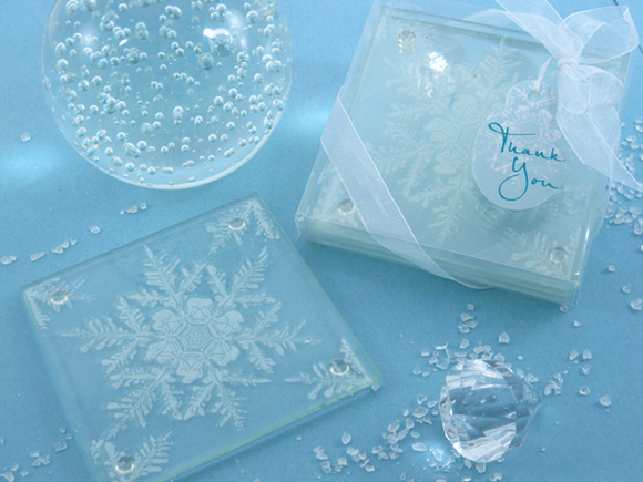 Shimmering Snow Crystal Frosted Snowflake Glass Coasters Favor (Set of 2) - SALE! - CLOSEOUT PRICE! - InCasaGifts