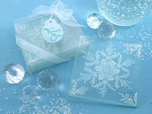 Shimmering Snow Crystal Frosted Snowflake Glass Coasters (Set of 4) - CLOSEOUT PRICE! - InCasaGifts