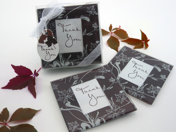Falling Leaves Leaf Themed Glass Photo Coasters Favor (Set of 2)