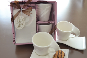 Swish Cup and Biscotti Saucer Favor (Set of 2) - CLOSEOUT