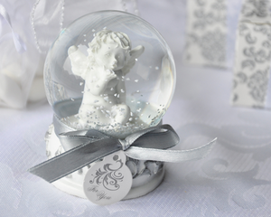 Angel Kisses Cherub Snow Globe Favor - InCasaGifts