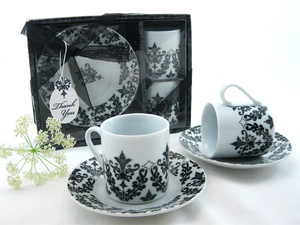 Dramatic Damask Espresso Cup Favor (Set of 2) - InCasaGifts