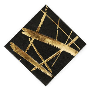 Gold Strokes Black Cocktail Napkins - Small