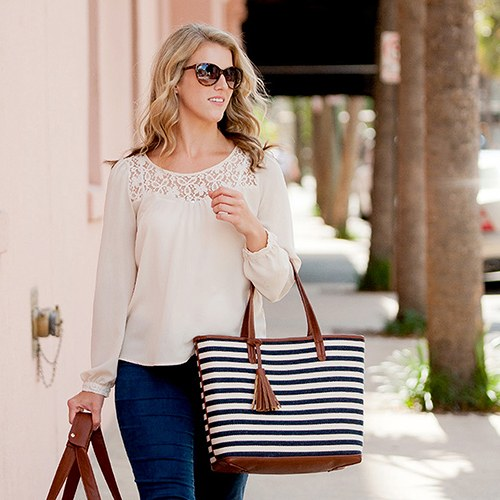 Women's Large Knit Fabric Tote Bag with Faux Leather Accents- Navy and White Striped