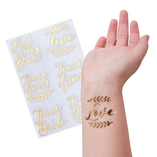 Rose Gold Bachelorette Party Temporary Tattoos - Wedding