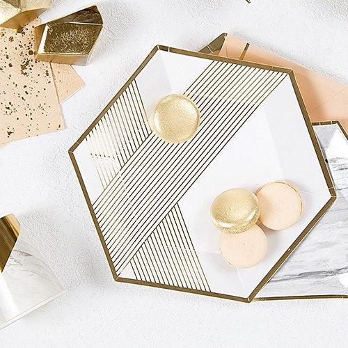 Disposable Wedding Party Paper Plates - Large White with Gold Hexagon