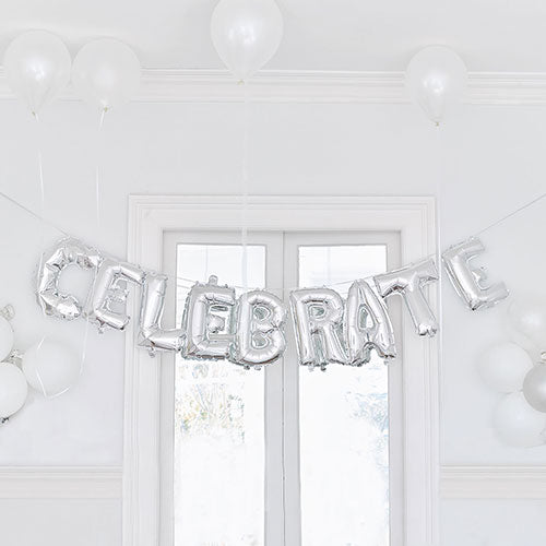 Silver Mylar Foil Letter Balloon Decoration - Celebrate
