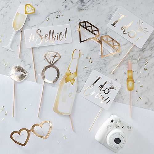 Fun Wedding Photo Booth Props on a Stick - Gold Foil