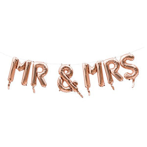 Rose Gold Mylar Foil Letter Balloon Decoration - Mr & Mrs