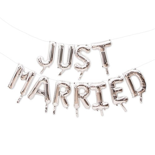 Silver Mylar Foil Letter Balloon Decoration - Just Married