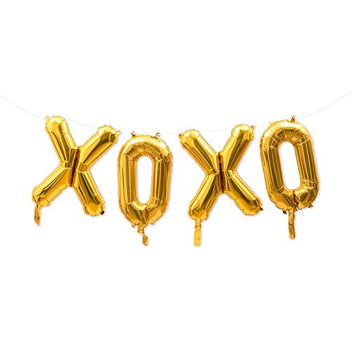 Gold Mylar Foil Letter Balloon Decoration - XOXO