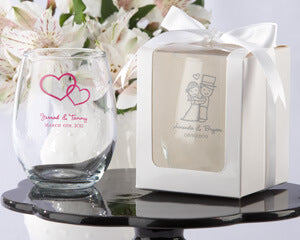 Personalized Wine or Shot Glass Wedding Favor Ideas
