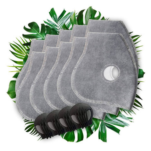 Activated Carbon Filter Set for Dust Masks - 10 filters + 4 Valves