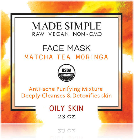 Certified Organic Matcha Tea Moringa Face Mask