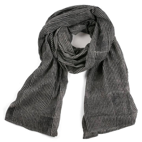 Alice Stripes Midnight Block Printed Cotton Scarf