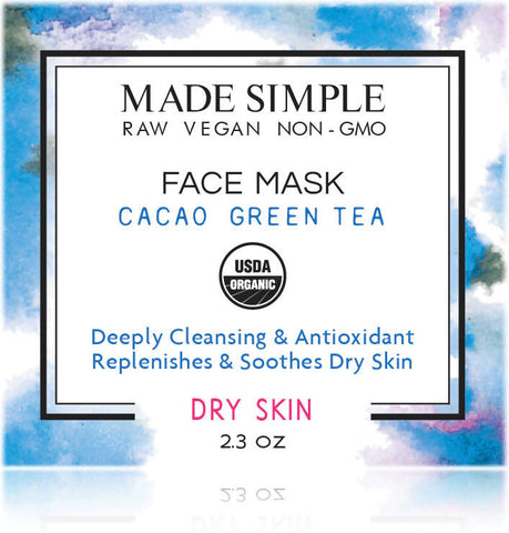 Certified Organic Cacao Green Tea Face Mask