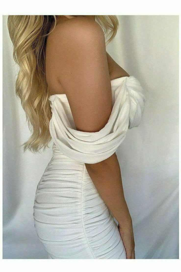 """QUINN"" OFF SHOULDER RUCHED DRESS - WHITE - TOXIC ENVY BOUTIQUE"