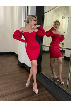 """MOLLY"" PUFF SLEEVE BANDAGE DRESS- RED - TOXIC ENVY BOUTIQUE"