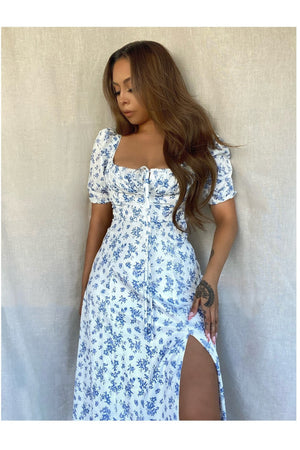 """ASTER"" FLORAL PRINT FLORAL DRESS - BLUE - TOXIC ENVY BOUTIQUE"
