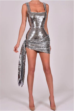 """SABRINA"" DRAPED MINI SEQUIN DRESS - SILVER - TOXIC ENVY BOUTIQUE"
