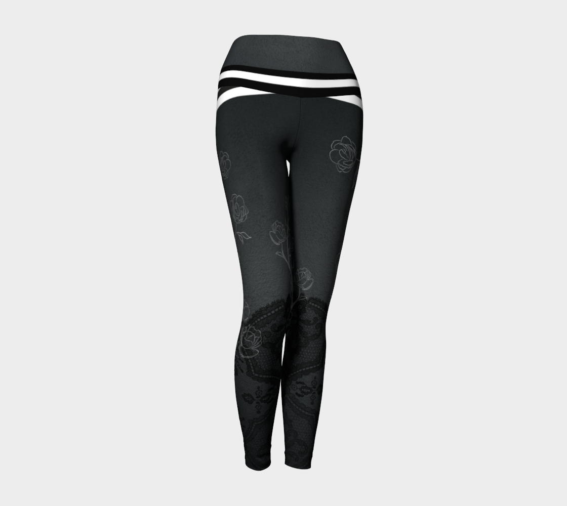 A dark background with delicate floral drawings and faux booty shorts in bold stripes on these compression leggings