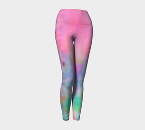 a playful pink candy inspired print adorn these high waisted compression leggings
