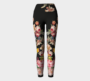 A deep black midnight acts as the background for brilliant beautiful florals on these compression leggings