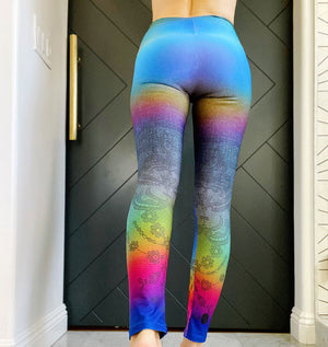 Sexy lace sits atop a denim backdrop with subtle rainbow haze on these compression leggings