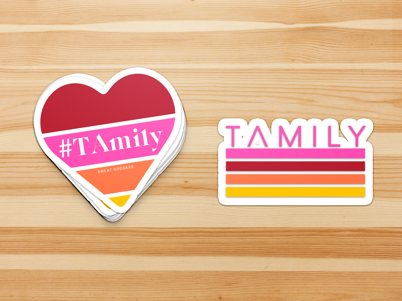 "A set of 2 waterproof vinyl stickers, a heart and a stripes design with the word ""Tamily"""