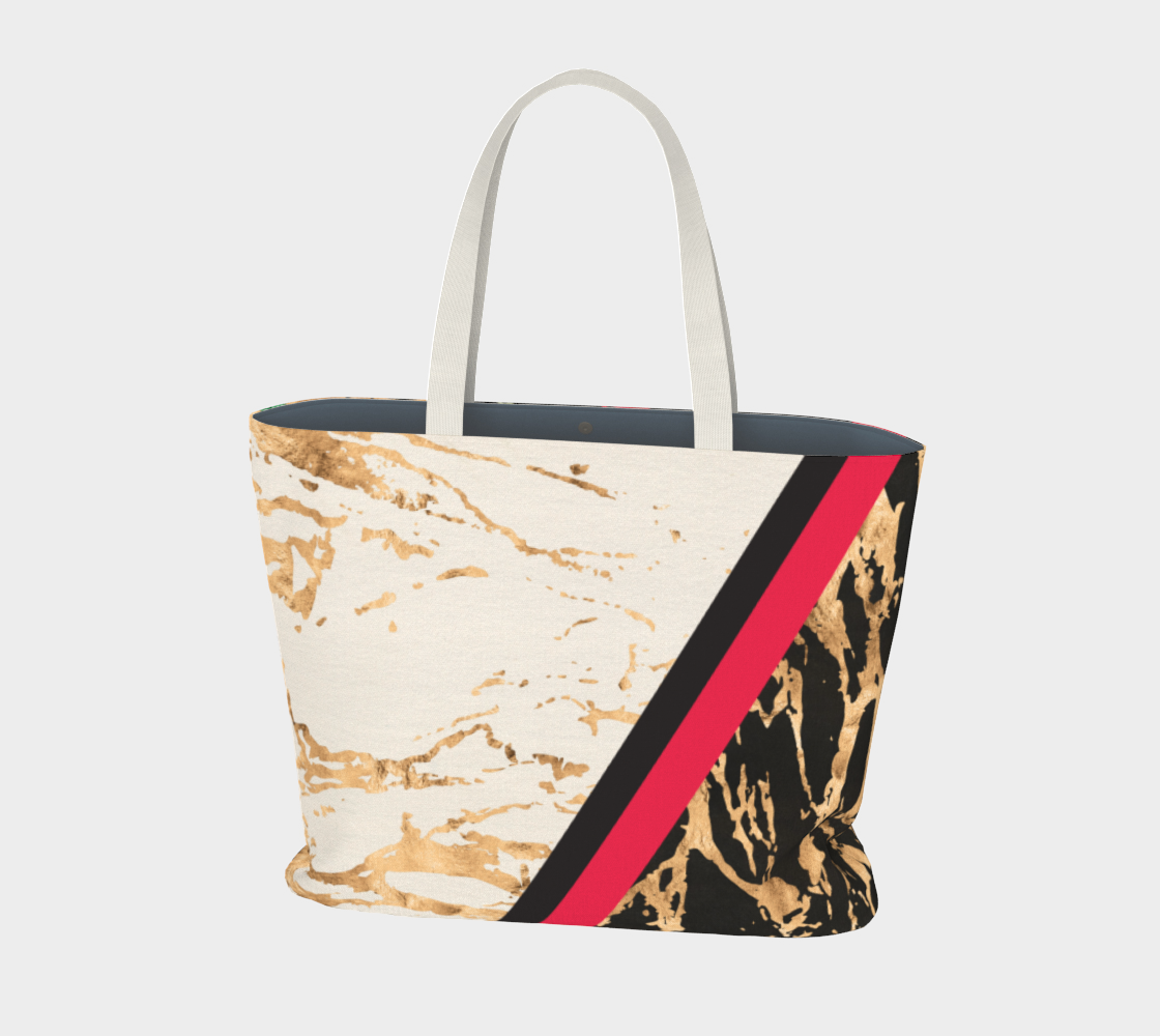 Oversized tote bag featuring black and gold red floral print. Perfect to tote your gym essentials, weekend trips, or just your daily use!