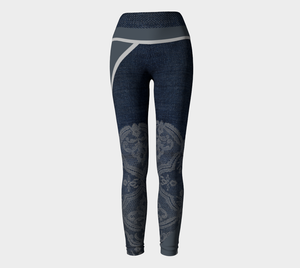 Sexy lace sits atop a dark denim backdrop with bold grey stripes as accents on these compression leggings